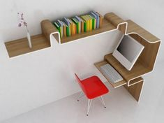 Modern Minimalist Computer Desks - mounted to a wall to provide a workspace, storage and overhead shelving