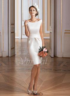 Brautkleider - $95.40 - Etui-Linie Schulterfrei Knielang Taft Brautkleid mit Rüschen (0025098920)
