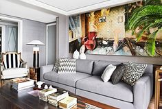 An art deco home in Shanghai (Desire To Inspire) Modern Chinese Interior, Art Deco Home, Sofa, Couch, Grey Walls, Shanghai, Contemporary, Inspiration, Furniture
