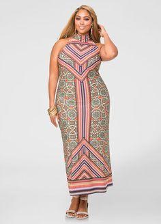 Printed Mock Neck Maxi Dress