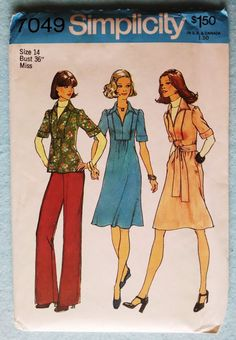 Vintage 1975 Dress or Top and Pants Sewing Pattern, Simplicity 7049 - Misses Size 14 Bust 36 Uncur and Factory Folded $10.00