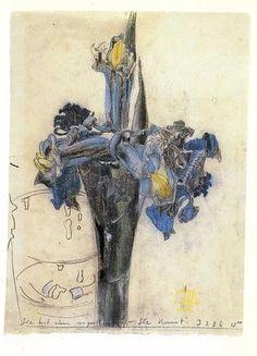 """peinture : Horst Jansen, autrichien. """"Elle vient d'appeler"""". fleurs, Pastel."""