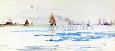 James McNeill Whistler Zuyder Zee hand embellished reproduction on canvas by artist James Abbott Mcneill Whistler, Cannes Film Festival, Gustave Courbet, John Ruskin, Art Database, North Sea, Art For Art Sake, French Artists, New Wave