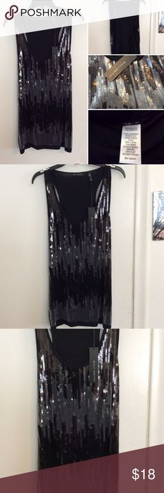 Willi Smith Sleeveless Black Sequin Top NWT. This gorgeous Willi Smith top is completely covered is beautiful sequins in the front and has a solid black panel backing. This top is a size small and is a viscose spandex blend Willi Smith Tops