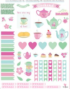 Free Mother's Day Printable: tea party-themed planner stickers to decorate weekly planners for Mother's Day.