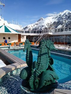 Crystal Serenity Pool with Alaska's Glacier Bay as the backdrop.