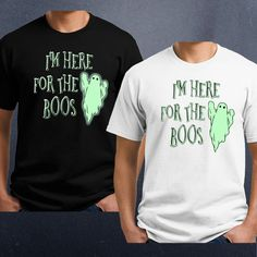 """""""Here For the Boos"""" Ghost -T-shirt, Tank, Ladies, Mens. This is printed in green. It does not glow in the dark . 100% cotton shirt, available in Men's, Ladies and kids. Chakra Energy Beams Shirt. 