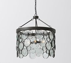 Emery Indoor/Outdoor Recycled Glass Chandelier | Pottery Barn - wrought iron finish looks darker (like black) here, but not sure...