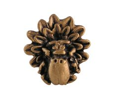 1 1/4 Inch Solid Pewter Ladybug on Flower Knob (Antique Brass Gold Finish)
