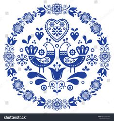 Folk Embroidery Ideas Folk art vector round ornamental frame with birds, hearts, and flowers, Scandinavian design in circle, floral composition. Retro background with flowers inspired by Swedish and Norwegian traditional - Folk Embroidery, Vintage Embroidery, Embroidery Patterns, Bordado Popular, Scandinavian Folk Art, Retro Background, Blue Pottery, Antique Quilts, Circle Design