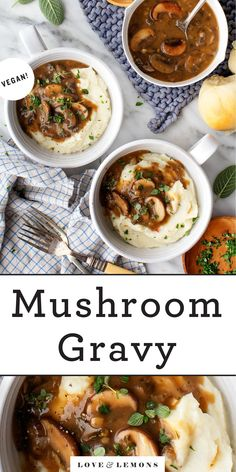 This mushroom gravy is SO delicious and easy to make! Perfect for Thanksgiving, it has a rich, savory flavor and velvety texture. Serve it over mashed potatoes, stuffing, and more! Vegan. | Love and Lemons #gravy #thanksgiving #vegan #mushrooms Veggie Recipes, Diet Recipes, Vegetarian Recipes, Cooking Recipes, Healthy Recipes, Vegetarian Thanksgiving, Thanksgiving Recipes, Holiday Recipes, Thanksgiving 2020