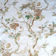 Kingswood Chintz Fabric Taupe on cream floral chintz fabric