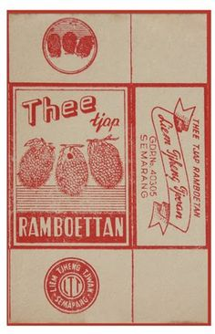 Rokok Tjap Ramboetan Vintage Labels, Vintage Ads, Vintage Posters, Old Advertisements, Advertising, Retro Design, Graphic Design, Glass Packaging, Sign System