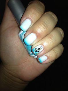 Beautiful temperature changing nail gel polish with anchor nail design ⚓