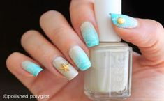 Nail art design inspired on Beach holidays, using gradient sponging and stamping techniques. Post with high quality pictures, for the day of 40 Great Nail Art Ideas challenge. Beach Nail Art, Beach Nail Designs, Beach Nails, Nail Art Designs, Nails Design, Great Nails, Cool Nail Art, Fun Nails, Chalkboard Nails