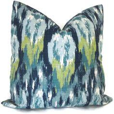 Blue Ikat Decorative Pillow Cover, 18x18, 20x20, 22x22, Eurosham or lumbar pillow, Throw Pillow, Accent Pillow, Toss Pillow