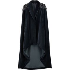 VEIL LONDON - Grey Velvet Hand Beaded Cape (5.400 BRL) ❤ liked on Polyvore featuring outerwear, cape, jackets, gray cape, embellished cape, beaded cape, cape coat and velvet cape