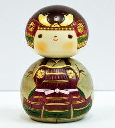 Usaburo Kokeshi Japanese Wooden Doll 7-31 Kabuto-kun (Samurai Helmet) | eBay