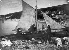 Dr Holden in his sailing boat at Glenarm, Co Antrim c.1870