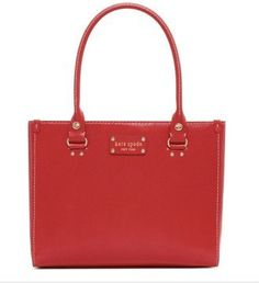 My Christmas Season Purse! One of my favorite bags. Kate Spade Wellesley Leather Quinn Bag Purse Tote Modern Red Kate Spade.