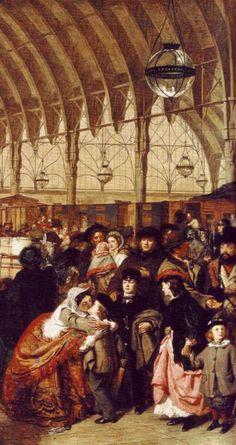 The Railway Station William Powell Frith, RA 1862 Victorian London, Victorian Art, British History, Art History, Victorian Paintings, William Powell, Detailed Paintings, English Artists, Italian Painters