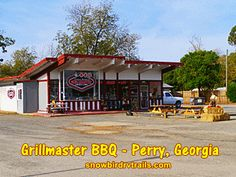 Grillmaster BBQ in Perry, Georgia is finger-licking close just outside the main entrance to Crossroads Travel Park. Perry Georgia, Grill Master, Main Entrance, Tampa Florida, New England, Rv, Maine, Restaurants, Finger