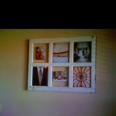Old window frame used for a picture frame