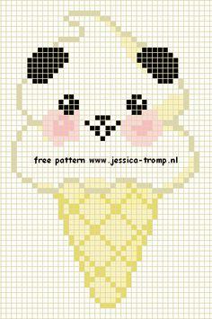 Kawaii Panda Ice Cream Cone - free cross stitch or hama bead chart