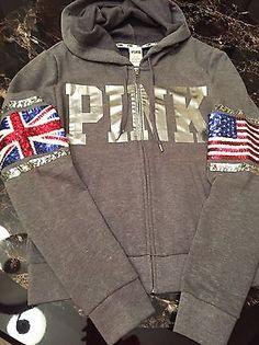 Victorias Secret PINK Bling Limited Edition London Full-Zip Hoodie sz L Fashion