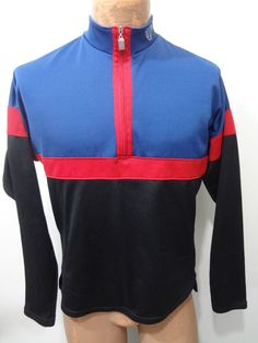 Pearl Izumi Mens S Black Blue Red Bike Long-Sleeve 1 2-Zip Cycling Jersey  Shirt 90041f18b