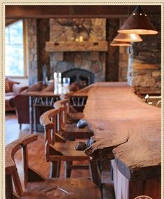 Rustic Bar/Kitchen Island for a vacation home Bar Deco, Wood Countertops, Unfinished Wood, Log Homes, Bars For Home, Rustic Furniture, Furniture Plans, Diy Furniture, Home Interior Design