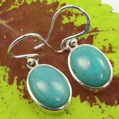 Genuine TURQUOISE Gemstones Women's Girl's Fashion Earrings 925 Sterling Silver #SunriseJewellers #DropDangle