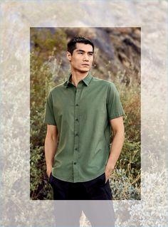 Hao Yun Xiang wears a Vince short-sleeve shirt $185 and stretch woven drawstring shorts $185.