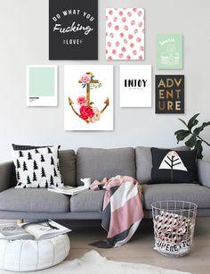 Cuadros modernos decorativos para el living de tu casa. #cuadrosmodernos #cuadros #cuadrosdecorativos #gallerywall