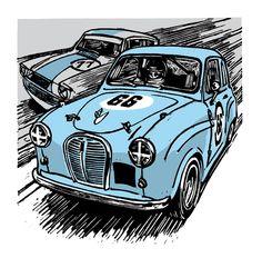 Car Illustration, Illustrations, Austin Cars, A30, Hot Cars, Race Cars, James Arthur, Racing, Lino Cuts