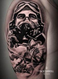 fighter pilot tattoo tattoo British air force spitfire tattoo tattoos sleeve tattoo lest we forget realistic tattoo by Jack Carroll - All Animal PHOTOS Upper Arm Tattoos, Leg Tattoos, Tattoos For Guys, Pilot Tattoo, War Tattoo, Tattoo Arm Designs, Full Sleeve Tattoo Design, Spitfire Tattoo, Aviation Tattoo