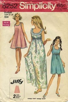 Vintage Sewing Pattern | Nightgown | Simplicity 8252 | Year 1969 | Bust 34-36 | Waist 25½-27 | Hip 36-38