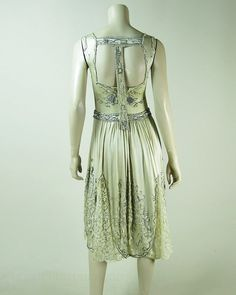 1920's Beaded Candlelight Silk Charmeuse And Lace Dress