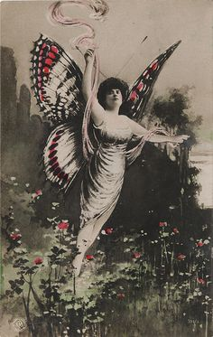 Lady with Butterfly Wings - Hand Colored Real Photo Postcard ~ Vintage Ephemera