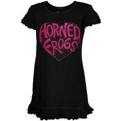 TCU Horned Frogs Toddler Girls Black Glitter Heart Logo Dress