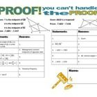 Students will complete four fill-in-the blank proofs based on the properties of similar triangles.  Reasons will include Geometric and Algebraic pr...
