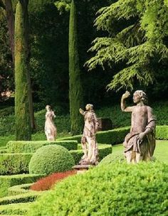 beautiful statuary against a calming green backdrop...