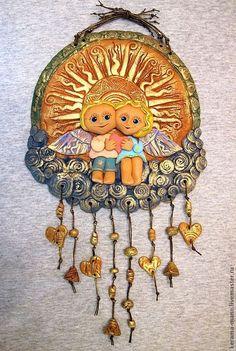 """Купить """"Заоблачное счастье""""- Панно - золотой, солнце, ангелы, любовь, облака, подарок на свадьбу"""