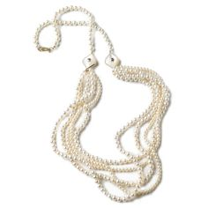"Elizabeth Showers: 36"" 18kt yellow gold multi-strand, multiple length Mirabella white pearl necklace with two mother-of-pearl bezel set Simone shapes with hope stars."
