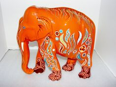 Spot the Hand Painted Orange Elephant Free by ReuseRecycleRethink, $185.00