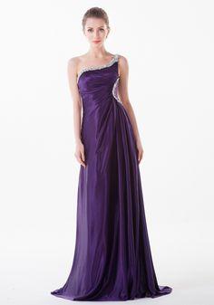 One Shoulder Sweep Train Chiffon Sheath Column Formal Evening Dress