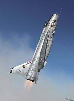 RAF English Electric Lightning is a supersonic fighter aircraft of the Cold War era. Jet Fighter Pilot, Air Fighter, Fighter Jets, Airplane Fighter, Fighter Aircraft, Airplane Art, Military Jets, Military Aircraft, War Jet