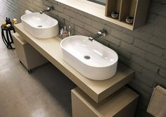 Countertop oval ceramic washbasin Pass Line by CERAMICA FLAMINIA Bathroom Furniture Design, Design Bathroom, Meeting Table, Massage Room, Bathroom Fixtures, Bathrooms, Countertops, Sink, Home Decor