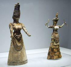 """Minoan Snake Goddess"" figurines found Knossos in Crete, from Minoan culture, circa 16th BCE"