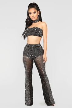Stand Out Rhinestone Set - Black – Fashion Nova Stage Outfits, Night Outfits, Sexy Outfits, Trendy Outfits, Cute Outfits, Fashion Outfits, Womens Fashion, Looks Chic, Looks Style